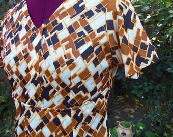 1970s Maxi Dress Abstract Op Art Maxi Dress 70s Maxi Dress Polyester Maxi Dress Geometric Maxi Dress Vintage Maxi Dress Mod Maxi Dress