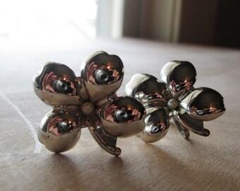 Vintage Silver Four Leaf Clover Earrings, Screwbacks