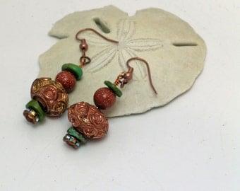 Antique Copper Beaded Earrings