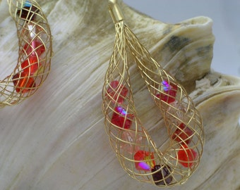 Golden Red Autumn Mesh Earrings