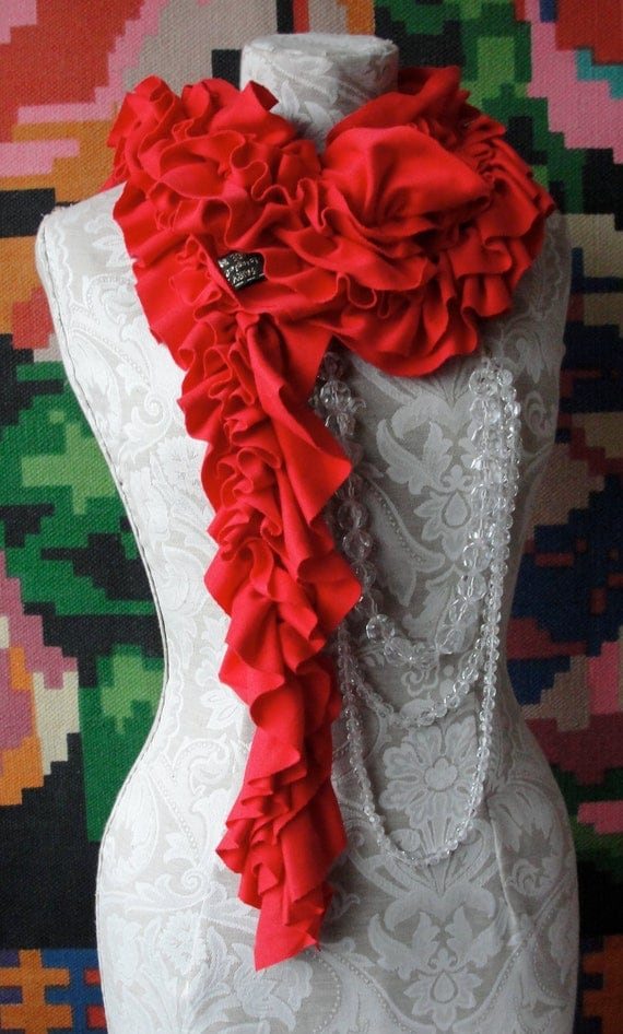 RESERVED for Dido Poppy Red ruffle SCARF and Rose pin brooch.
