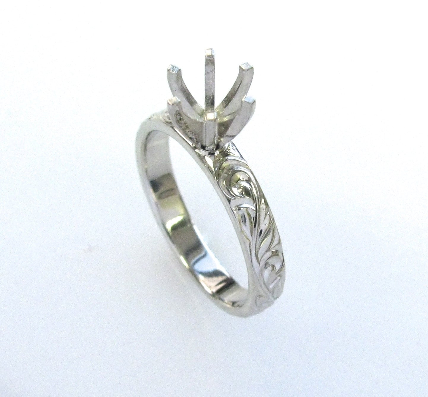 Hand Engraved Engagement Ring With Vine And Leaf Hand