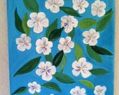 White Violets on Light Blue Original Art Painting on Canvas 6 x 8 inches Acrylic Abstract