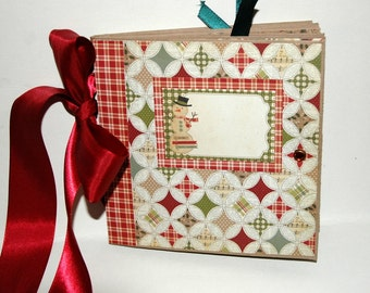 Christmas - Snowman -  Paper Bag Album - Scrapbook -  Journal