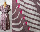 70s/80s Cigarette Novelty Print 40s Style Faux Wrap Dress Size M