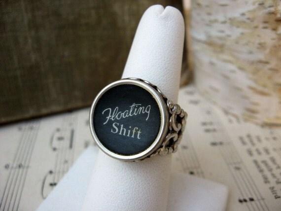 Typewriter Key Ring - Adjustable - Floating Shift Key