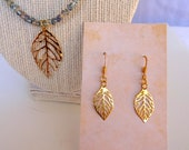 Beaded Sage Green and Gold Falling Leaf Necklace, Matching Earrings, Necklace Set, Dangle Earrings