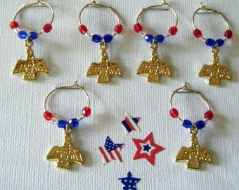 American Eagle Wine Glass Charms