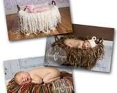 Set of Three Fringe Blankets - Newborn Nest Photography Props - toasted coconut, mocha java, rainbow