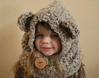Children's Bear Hood / Cowl - Oatmeal Color