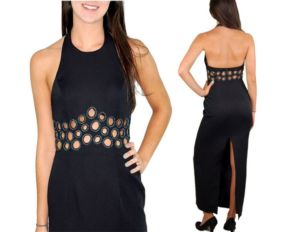 Beaded black gown circle cut outs beaded circles Mod dress halter dress Size 8