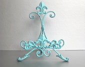 Aqua Blue Easel, Metal Easel, Book Stand, Art Prop, Shabby and Chic, Fleur De Lis, Parisian Chic, Cottage Chic, French Country
