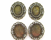 Cabochon Settings design, antique bronze plated, 35x40x2mm, 4 pieces