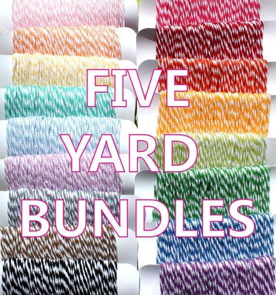 Itty Bitty Bakers Twine 5 Yard Bundles - PICK 10 COLORS (50 yards total- 5 yards each color) - The Twinery