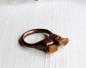 Copper Ring Imperial Topaz Crystal Peach Gold Grapefruit Gemstone Statement Artisan Handmade