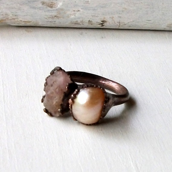 Pearl Spinel Copper Ring Gem Stone Raw Gem Organic Oxidized Handmade