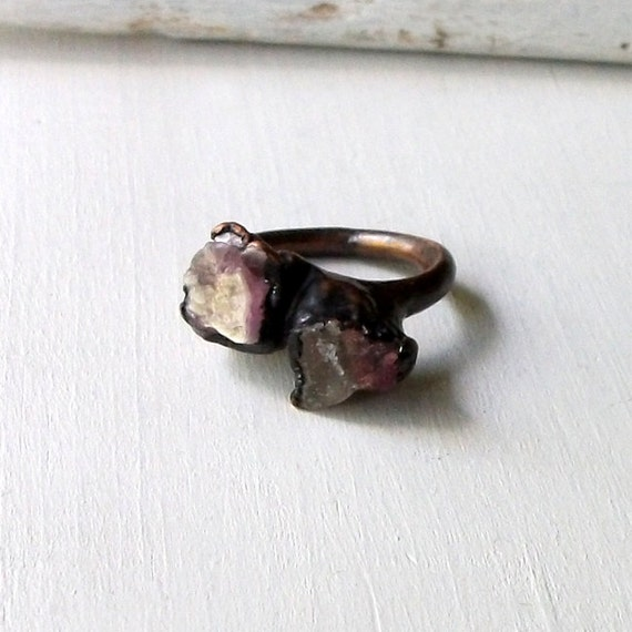 Tourmaline Copper Ring Rubelite Rough Gemstone Stone Mineral Watermelon Pink Artisan Handmade