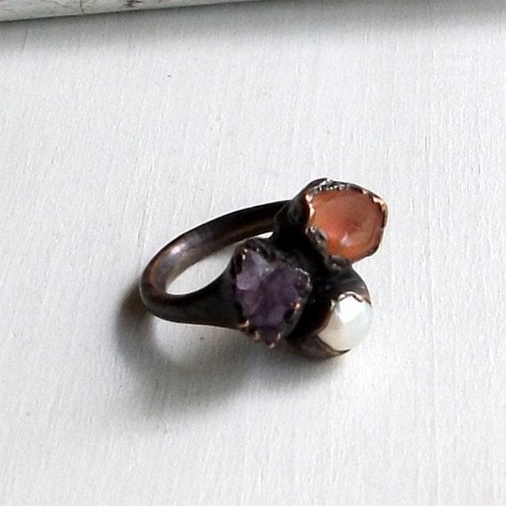 Opal Amethyst Pearl Copper Ring Orange Violet  Raw Gem Stone Artisan Handmade