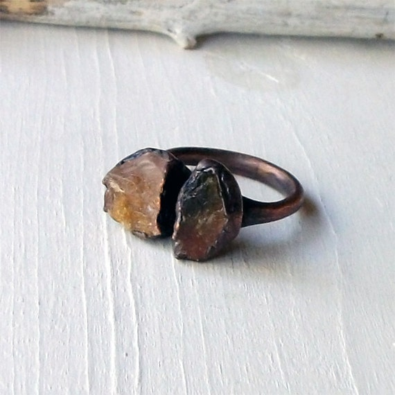 Tourmaline Ring Gemstone Ring Rough Stone Ring Cocktail Ring Copper Watermelon Tangerine Spice Artisan Handmade