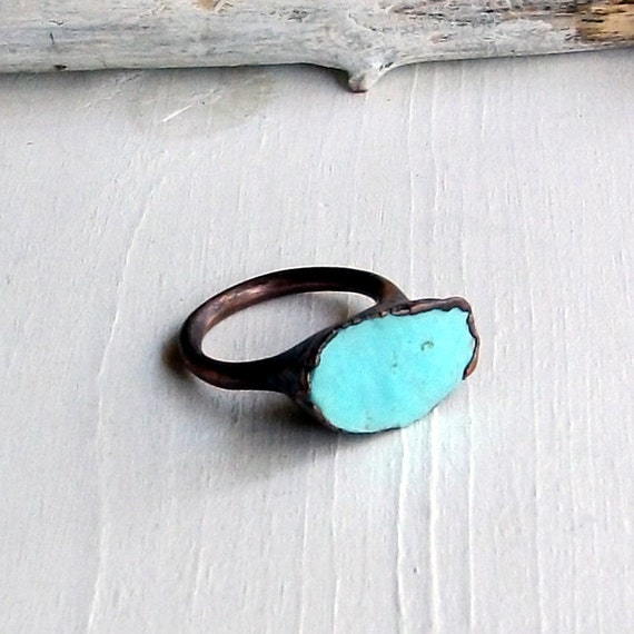 Copper Ring Turquoise December Birthstone Handmade Ring Simple Raw Robins Egg Blue
