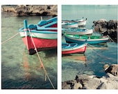 Sicilian Boats set of 2 - beach photography italy prints sicily mediterranean sea water watercolor turquoise red blue pastel summer nautical