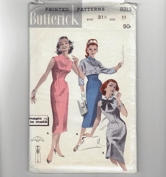 Vintage 50's Sheath Dress and Jacket sewing pattern.   Butterick.  Size 11.   No. 8213.