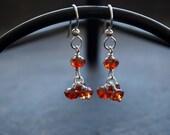 Red Magma Crystal Dangle Earrings, Burnt Orange Cluster Earrings