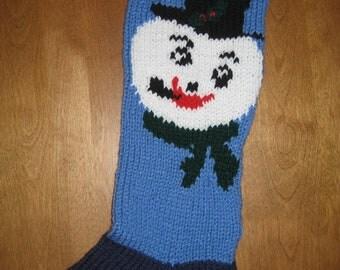 Snowman Stocking Personalized  Knit, Snowman Christmas Stocking, Knit Snowman Stocking