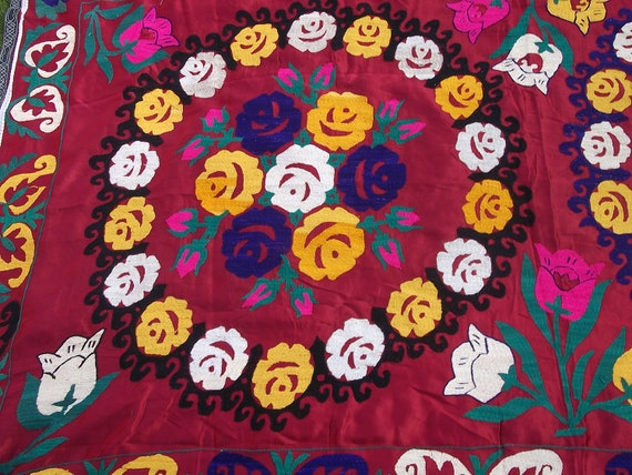 Big Red Roses Suzani from  Uzbekistan. Bed cover/ wall hanging. Hand embroidered.