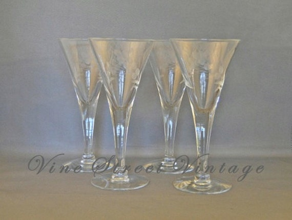 Vintage Set of Four  Etched Wheat Cordial Glasses