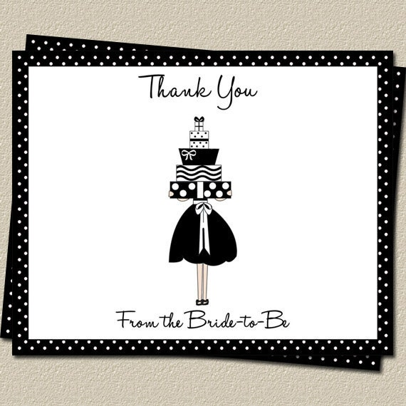Thank You Cards for Wedding Shower, Polka Dots, Bridal Shower, Set of 15 Printed Cards and Envelopes, FREE Shipping