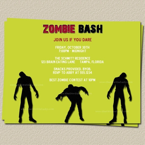 Zombie Party Invitations could be nice ideas for your invitation template