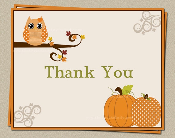Italian Boy Name: Items Similar To Autumn Owl Thank You Cards For Fall Baby