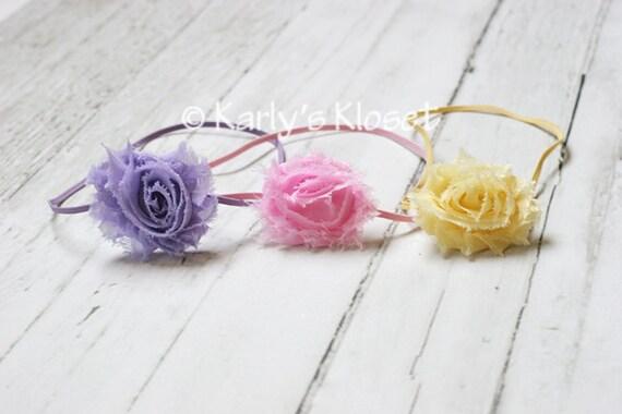 SALE Light Pink, Lavender Purple, Light Yellow Shabby Chic Chiffon Flower Skinny Elastic Headband - Newborn Baby Girl Photography Photo Prop