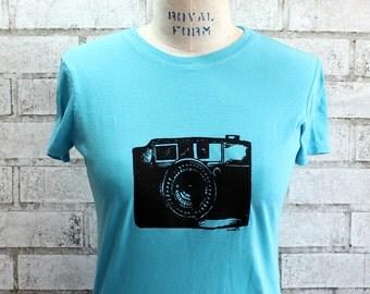Ladies Tee Shirt, 35mm camera tshirt, Cotton Crewneck Women's top in Powder Blue