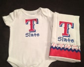 Personalized Texas Rangers Embroidered One Piece and Burp Cloth