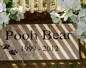 "Free Shipping- Pet Memorial Grave Marker 12x6 - ""Pooh Bear"" Design"