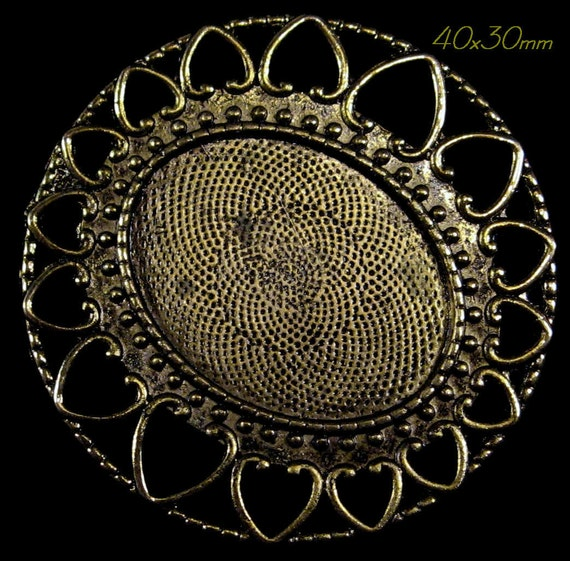 """40x30mm Antique Gold Setting(Lead Free) - """"Circle of Hearts"""" - 1pc : sku 06.20.12.1 - N7"""