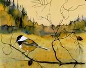 Chickadee bird painting wall Fine Art Archival Giclee print of original batik on Silk tree pine nature reproductions bird art