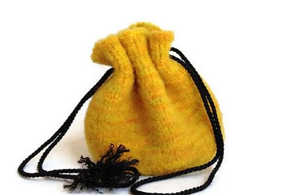 Felted Drawstring Bag Multi-colored Yellow Medium Size