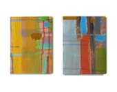 ON SALE, Multi Color Pair of Paintings, Ready to Hang, Small Colorful Abstract Acrylic Paintings on Canvas (7.5''x5.5'')