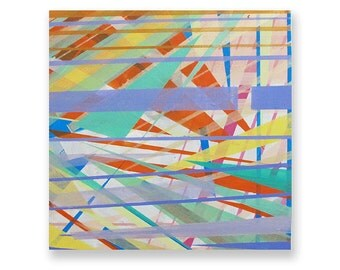 Original Acrylic Painting of Geometric Blue, Orange, Yellow, Teal, Tan, Purple Stripes on Stretched Canvas, Fine Art, 18''x18''