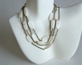 """Mother Of Pearl And  Solid Brass Elegant Long Necklace, 42"""""""