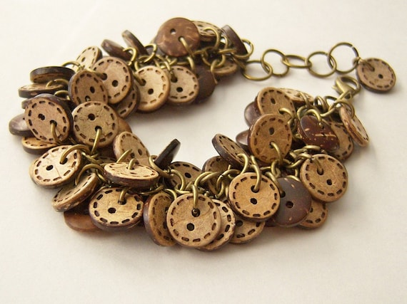 Brown And Tan Buttons Bracelet, Vintage