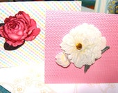 Notecards Embellished With Flowers Set of 5 In Pink Blue and Green