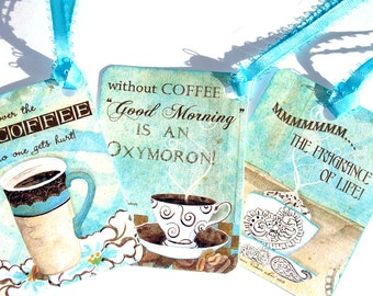 Coffee Gift Tags - Set of 6 - Funny Coffee Tags - Aqua And Brown - Collage Style - Gift Tags - Coffee Humor - Thank Yous - Merchandise Tags