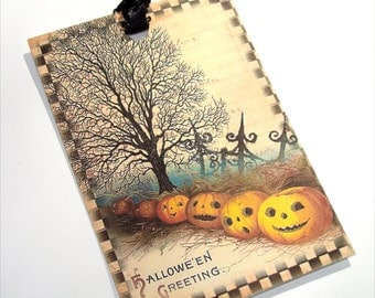 Halloween Tags - Set Of 6 - Vintage Look -  Holiday Tags - Cute Halloween - Jack O Lantern Tags -  Halloween Variety - Artistic Halloween
