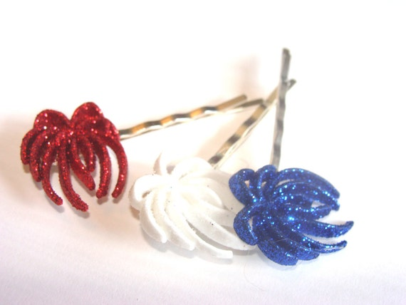 Fireworks Bobby Pins Set of 3 In Red White Blue With Glitter Fashion Hair Accessory for Girls To Women