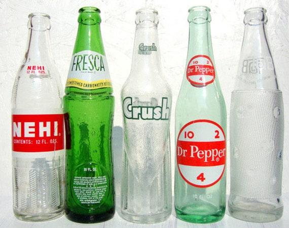 Instant Collection Vintage 60s Glass Soda Bottles 5 Total