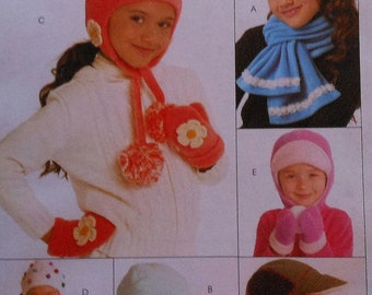 Boys and Girls Hat Scarf Mittens Sewing Pattern UNCUT McCalls M5772